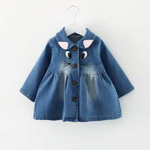 Spring 2017 Baby  Girls Outerwear Coat print Cartoon Casual Denim Jacket little Children Clothes Cowboy long sleeved Tops 059