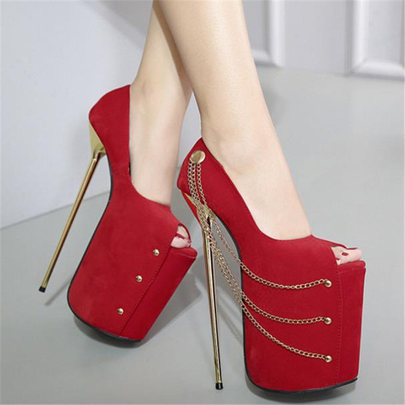 ФОТО 22 cm Heel women sexy suede leather red black metal chain peep toe on the platform 8.66 inches extreme thin high heels pumps F45