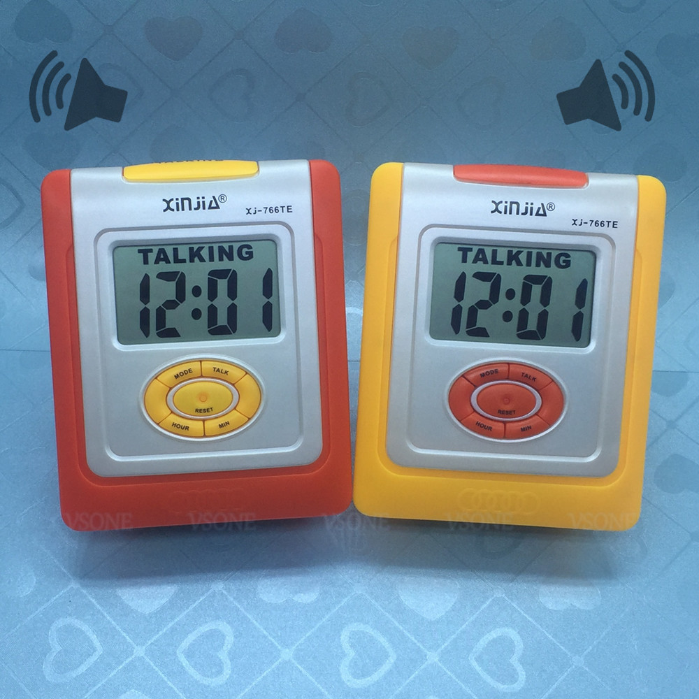 English Talking LCD Digital Alarm Clock for Blind or Low Vision Orange or Yellow