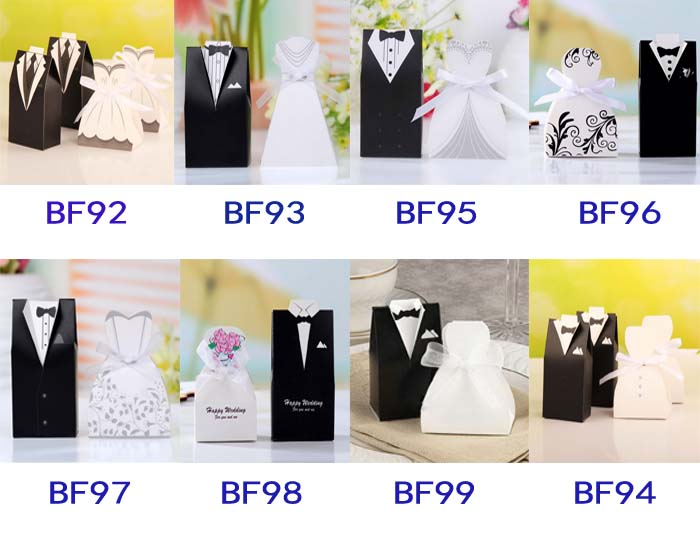 Bridal Gift Cases Groom Tuxedo Dress Gown Ribbon Wedding Favor Candy Box For Wedding Party Favor 50pcs