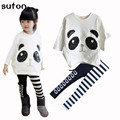 2017 Conjuntos de Roupas de Primavera Meninas Encantadoras 2 Pcs Outfits Algodão Panda Dos Desenhos Animados da Longo-Luva Tops + Calças Listradas Crianças Conjuntos de Roupas de bebê