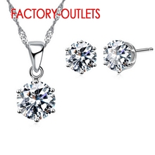 Hot Sale 925 Sterling Silver Bridal Jewelry Sets Fashion 4 Claws Crystal  Necklaces Hoop Earrings Women Party Engagement