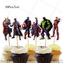 superhero cake topper superman spiderman captain america the avengers party decorations supplies birthday cupcake toppers