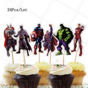 6pcs Superman cake topper superhero cupcake toppers city boom happy birthday