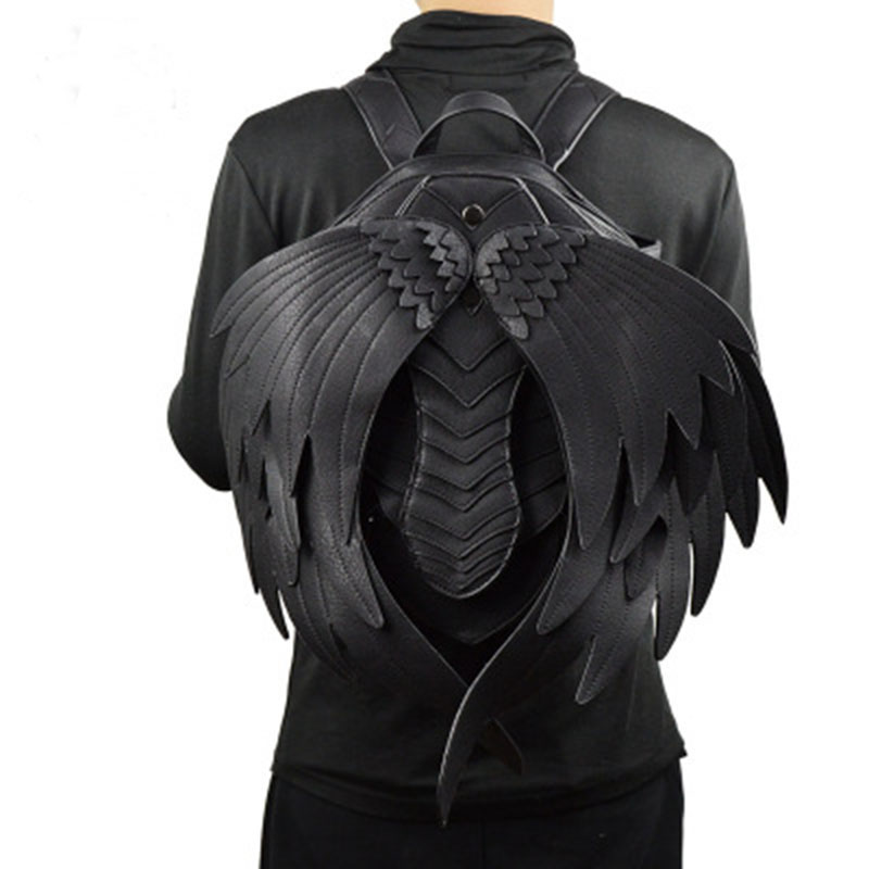2018 New Handmade Women Black Vampire Wing Design PU Leather Punk Gothic Stylish Backpack Steampunk Fashion Travel Casual Bags