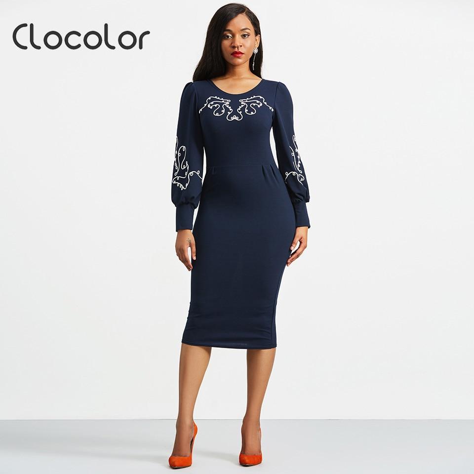 Clocolor Women Dress Africa Clothing Kanga Bodycon Dress Dark Blue O Neck Mid Calf Lantern Sleeve 2018 Fashion Women Dress