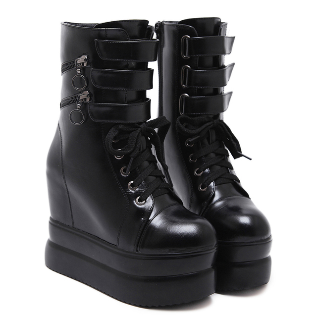 a715c3fe58 Woman Boots Shoes Punk Motorcycle Boots Women Black Platform Wedge Shoes  Women's High Boots Fashion Ankle Shoes For Women