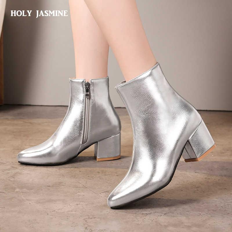 2018 Sonbahar Yeni Altın Gümüş Siyah yarım çizmeler Kadın Moda Blok Yüksek Topuklu Sivri Burun Patent Deri parti ayakkabıları Büyük Boy