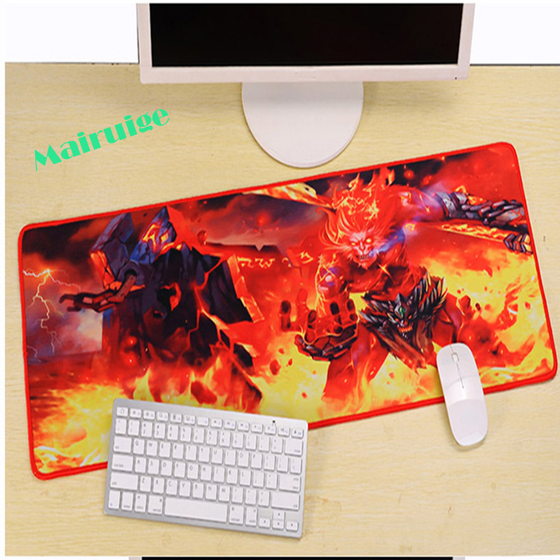Mairuige Mairuige Hot Red Monster LOL League Legend 90x40x0.3cm Custom Oversized Game Mouse Pad, Lock Edge Computer Keyboard Pad