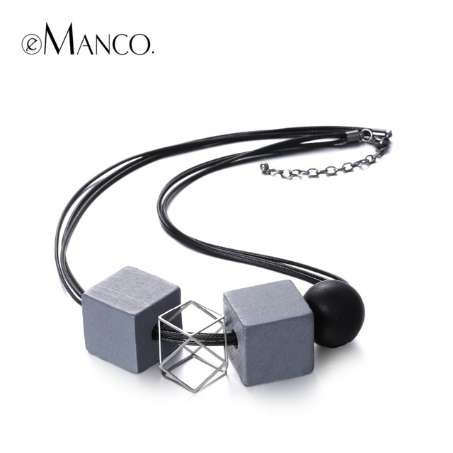 Black rope wooden beads choker necklace ethnic square alloy chain Geogemtric vintage necklace for women