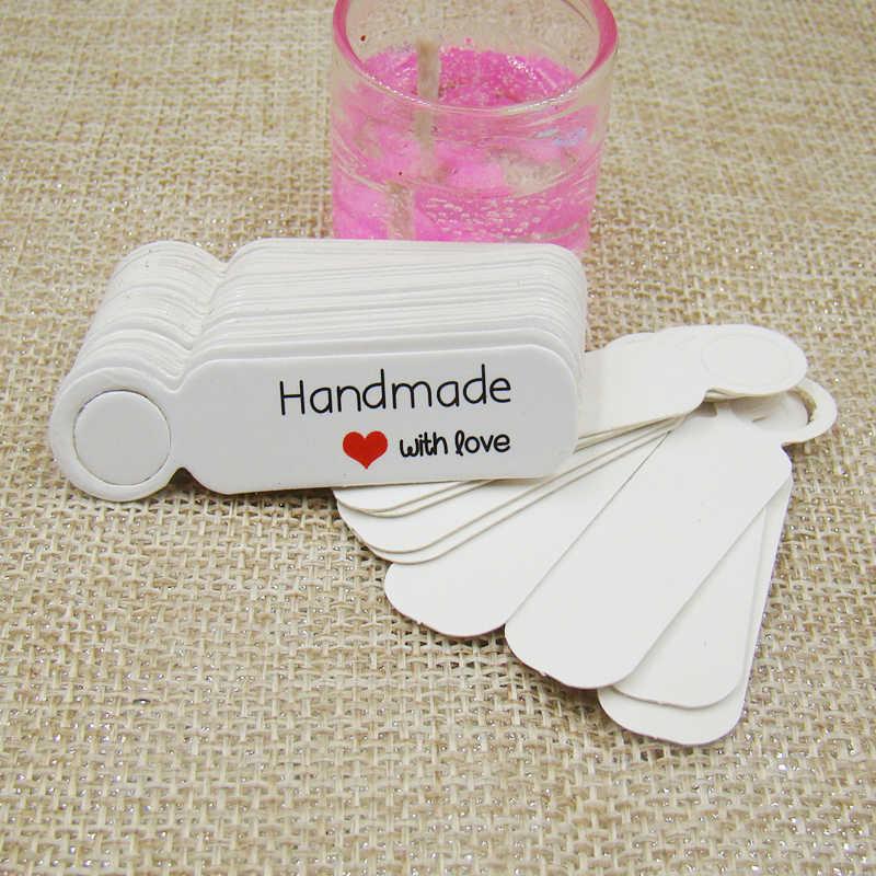 5*1,3 cm nette form kraft papier blank preis label-tag 100 stücke + 100 stücke hanf string für produktion preis tag beschreibung