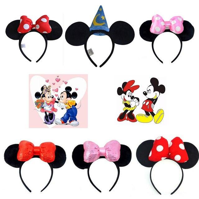 Disney Mickey Mouse cabeza pelo accesorios Kawaii lindo encantador suave juguetes de peluche para niños Juguetes De chico de cumpleaños regalo