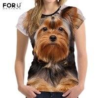 FORUDESIGNS Marca Diseñador Wome Camiseta Divertida 3D Perro Yorkshire Terrier de La Muchacha Impresa Camisetas de Moda de Manga Corta Cuello O Tops Tee