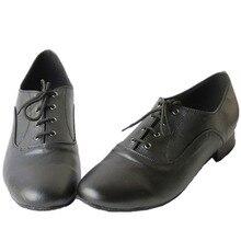 Mens Latin Dance Shoes Black Timeless Comfortable Ballroom Dance Shoes Quality Salsa Shoes Square Heel JYG446