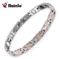 Rainso Titanium Bracelets Bangles Healing Magnetic Health Bio Bracelets For Women Silver Gold Ladies Jewelry OTB