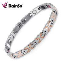 Rainso Titanium Bracelets Bangles Healing Magnetic Health Bio Bracelets For Women Silver Gold Ladies Jewelry OTB