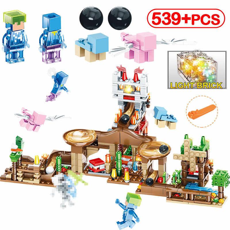 3D Light Bricks Toys Compatible LegoINGLY Minecraft Track Beads Castle  Figures DIY Building Blocks Enlighten Toy For Children