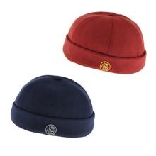 2 Pieces Mens Retro Docker Hat Wool Felt Brimless Beanie Cap Adjustable Navy Blue Red