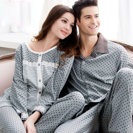 Spring and Autumn Casual Cotton Dot Full Sleeve Lovers Female Or Male Lounge Sleepwear Set