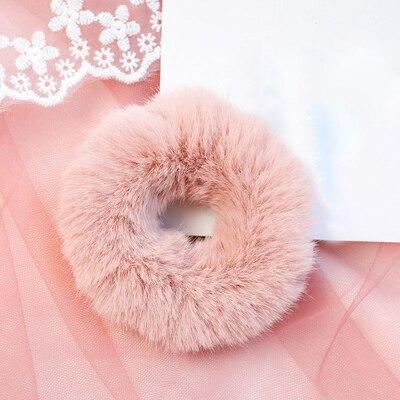 Новое поступление, зимняя эластичная резинка для волос, Тиара для волос для взрослых, простая однотонная мягкая плюшевая повязка для волос, повязка для волос для женщин, аксессуары для волос - Цвет: Pink