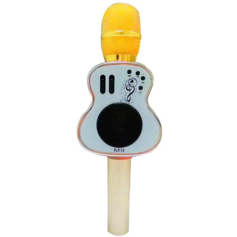 BINGSENTEC Unique en bois guitare Design micro M9 Bluetooth karaoké Microphone haut-parleur KTV chant chanson APP avec écho mélangeur