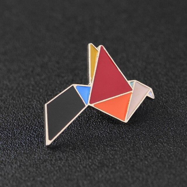 Origami Animal Rabbit Bird Paper Cranes Brooch Button Pins Denim Jacket Bag T Shirt Pin