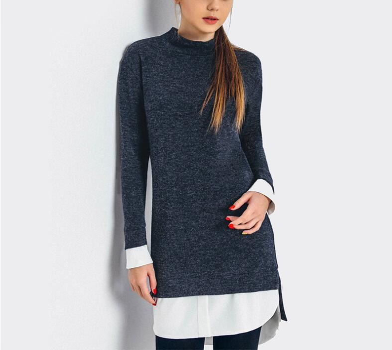 Knitted  Winter Sweaters for Women Novelty 2017 Blue Separation Long Sleeve Pullovers for Women Vintage Sewing Shirt Sweater
