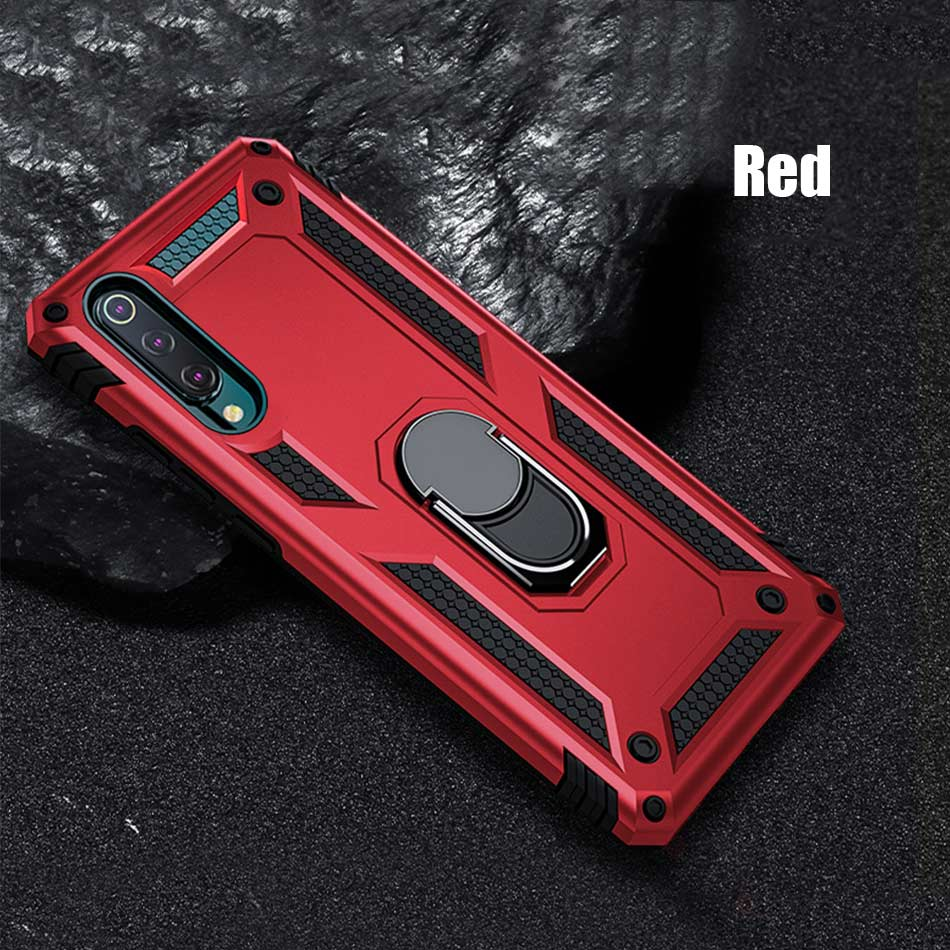 Luxury Metal Ring Phone Case On The For Xiaomi Redmi 7A Note 7 Pro Shockproof Case Cover For Xiaomi 9 SE 9T A3 CC9e Armor Case