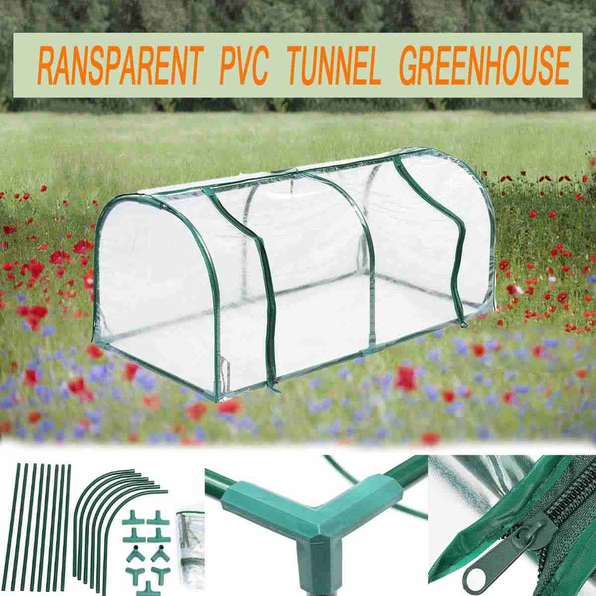 128X60X58CM Removable Steel Frame Outdoor Plant Cover Zipper Garden GreenHouse PVC Warm Garden Household Plant Greenhouse Cover