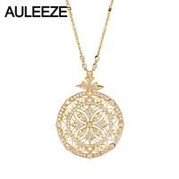 AULEEZE Luxury Moissanite Diamond Pendants Necklace Real 14K Yellow Gold Vintage Lace Long Sweater Chain For Women