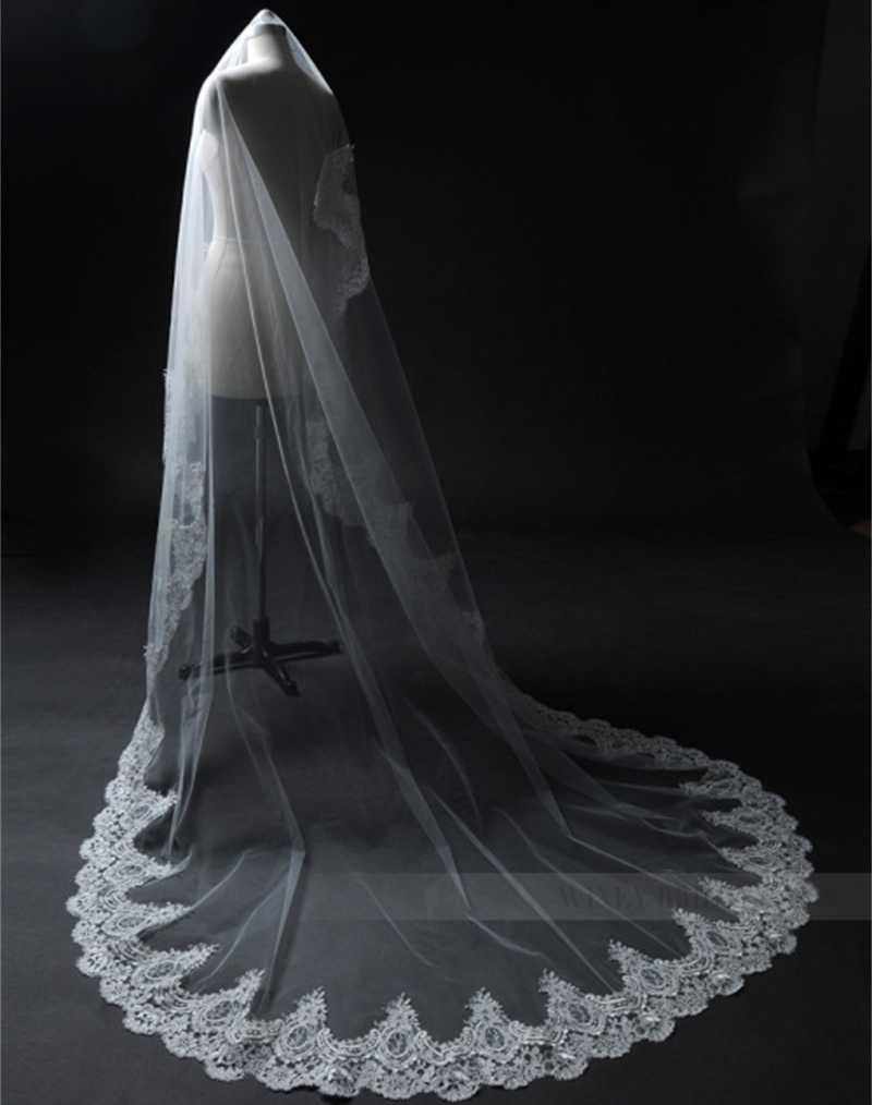 Mode Braut Schleier Weiß/Elfenbein Kathedrale Zug Applique Rand 3 mt Hochzeit Zubehör Lange Braut Mantilla Hochzeit Schleier