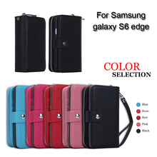 Handbag Purse Case For Samsung Galaxy S6 Edge Wallet Zipper Leather Flip Pouch For Samsung S6 Edge G9250 Detachable Back Cover