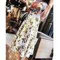 High quality summer new 2017 women designer O-Neck Beading dress Short sleeves fashion Novelty print floral dress vestidos