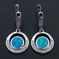 2016 New Fashion Blue Fire Opal 100% 925 Sterling Silver Fine Long Drop Earrings for Party Women