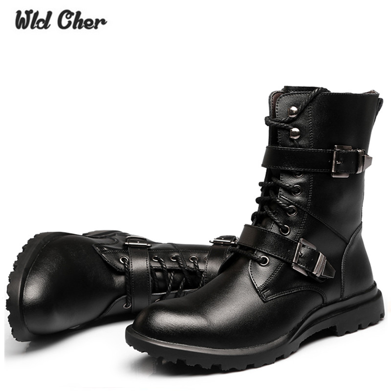Men Boots Genuine-Leather Shoes Business-Booties Classic Black Casual Fashion High-Quality