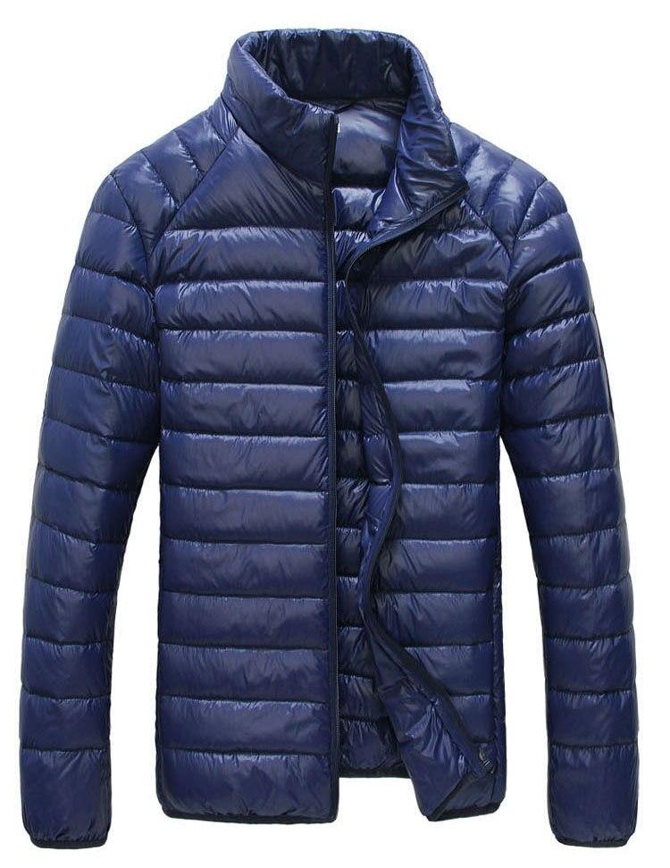 Мужская зимняя куртка ультра светильник 90% белый утиный пух куртки повседневное портативное зимнее пальто для мужчин размера плюс 4XL 5XL 6XL - Цвет: Dark blue