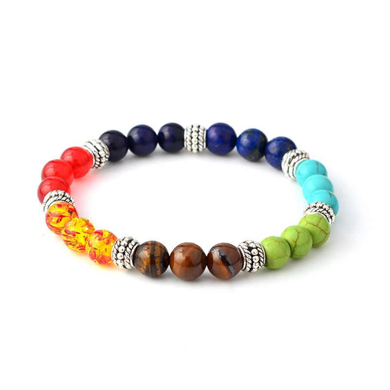 ZG Fashion 7 Chakra Bracelet Men Healing Balance Beads Prayer Natural Stone Yoga Bracelet Women Jewelry
