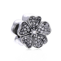 Original 925 Sterling Silver Bead Charm Vintage Cherry blossom With Full Crystal Beads Fit Pandora Bracelet & Bangle DIY Jewelry