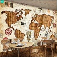 Large custom mural wallpaper vintage world map background wallpaper wine oak wine stopper restaurant bar background wall paper