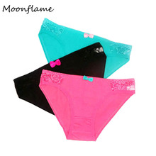 Moonflme 3 pcs/lots Ladies Panties Cotton Lace Underpants Women Briefs 89218