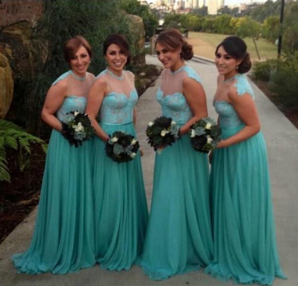 Vestidos damas de honor verde agua