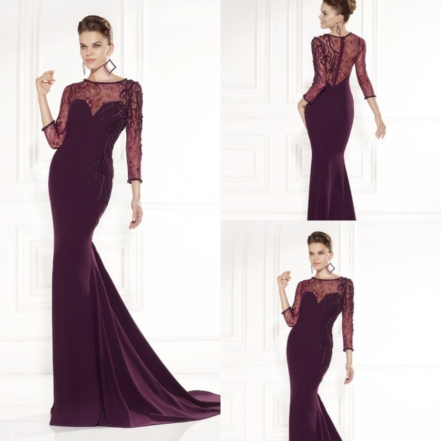 Mermaid Long Sleeve Formal Dresses to Party Eggplant Chiffon with ...