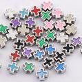 Esmalte cuadrado de los caballeros templarios Cruz perlas 8mm joyería DIY L1556 27 unids 9 colores