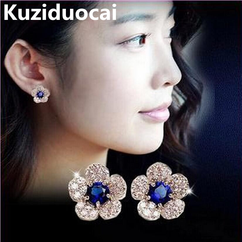 2015 New !!! Super Fashion Fine Jewelry Flash Romantic Full Rhinestone Blue Crystal Flowers Charm Stud Earrings For Women E-316