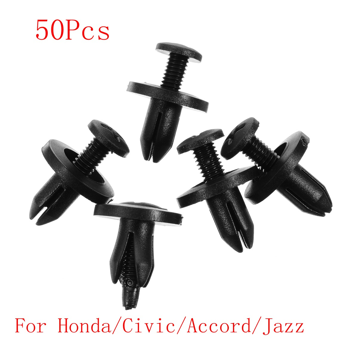 50Pcs 6mm Clips Car Bumper Cover Diversion Fenders Plate Swell Auto Plastic Fastener For Honda/Civic/Accord/Jazz