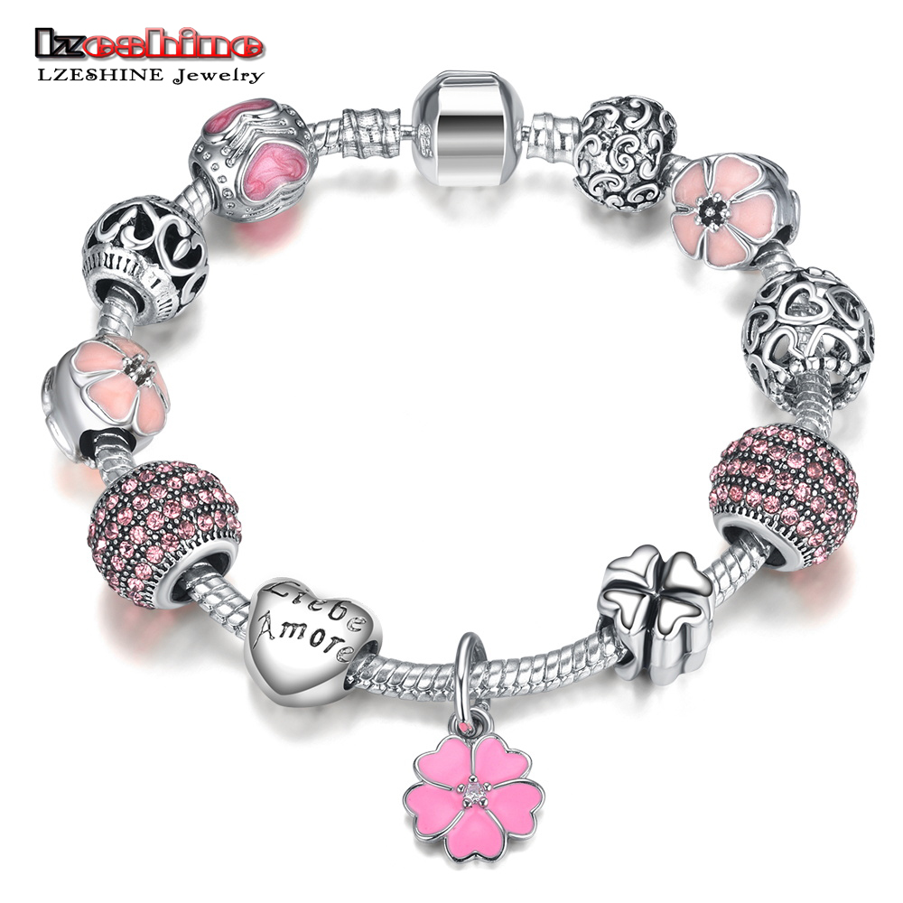 Lzeshine Antique Silver Charm Bracelet Bangle With Love Flower Crystal Ball Beads Bracelets For Women Wedding Jewelry Pdbr0004