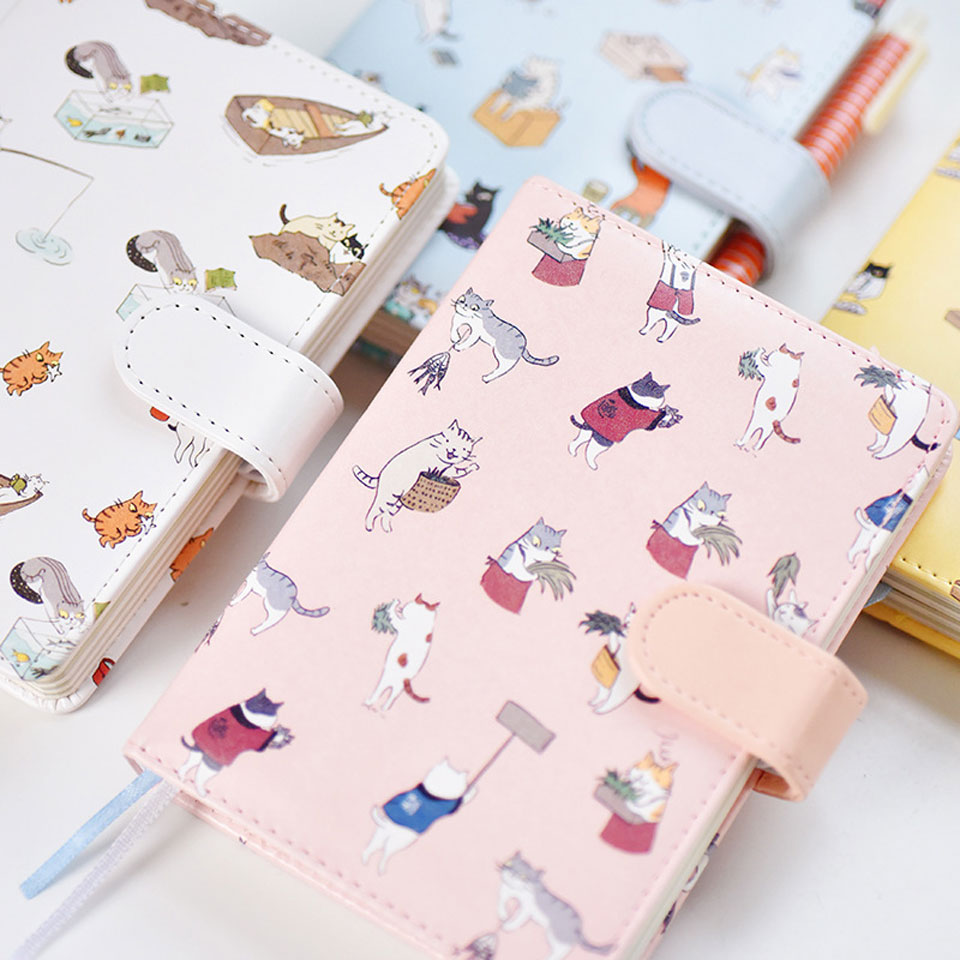 4 Pcs/lot NoteBook Kawaii Mini Cute Leather Diary Weekly Planner Notepad 2018 School Office Supplies Stationery for Student Gift creative leather notebook a5 school office supplies stationery cute diary notebooks metal rubber buckle conference notepad gift