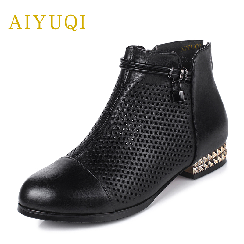 AIYUQI2018 new summer women's genuine leather sandals fashion mesh high quality sandals female plus size41#42#43#red shoes women aiyuqi2018 new genuine leather women summer sandals comfortable fish casual mouth plus size 41 42 43 mother sandals shoes female