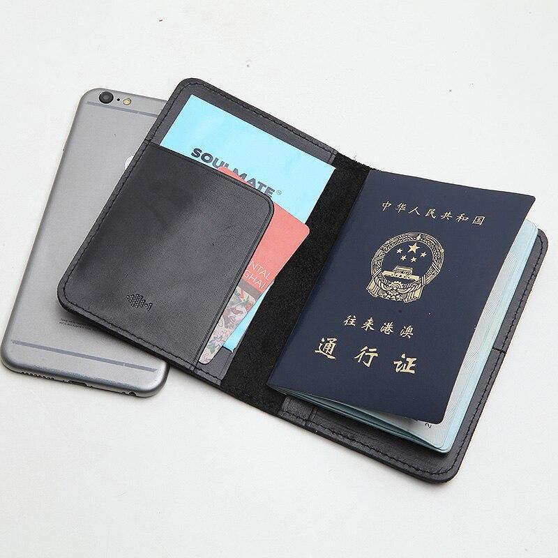 LANSPACE 유명한 여권 케이스 핸드 메이드 가죽 지갑 여권 지갑 남성 가죽 커버