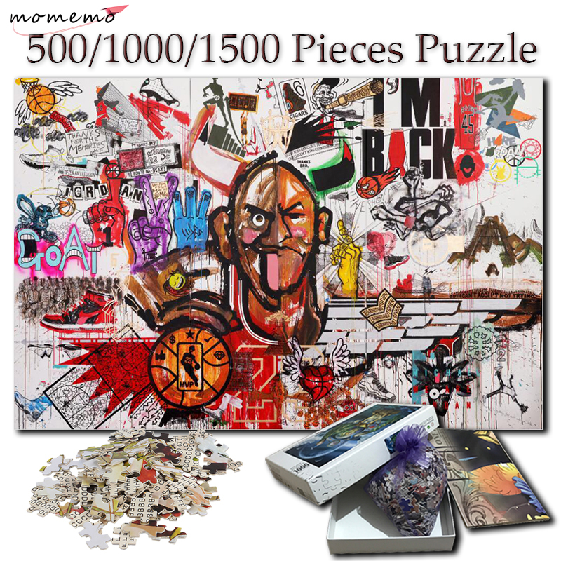 MOMEMO Basketball Doodling Puzzle 1000 Piece Wooden Fun Jigsaw Puzzles For Adults 500 1000 1500 Pieces Puzzle Wooden Toy For Kid
